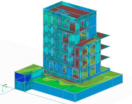 3D-FEM calculation model, structural engineering