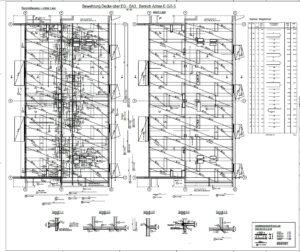 Erstellung von Schal- und Bewehrungsplänen - Beispiel Ausschnitt Bewehrungsplan, Grundriss Decke